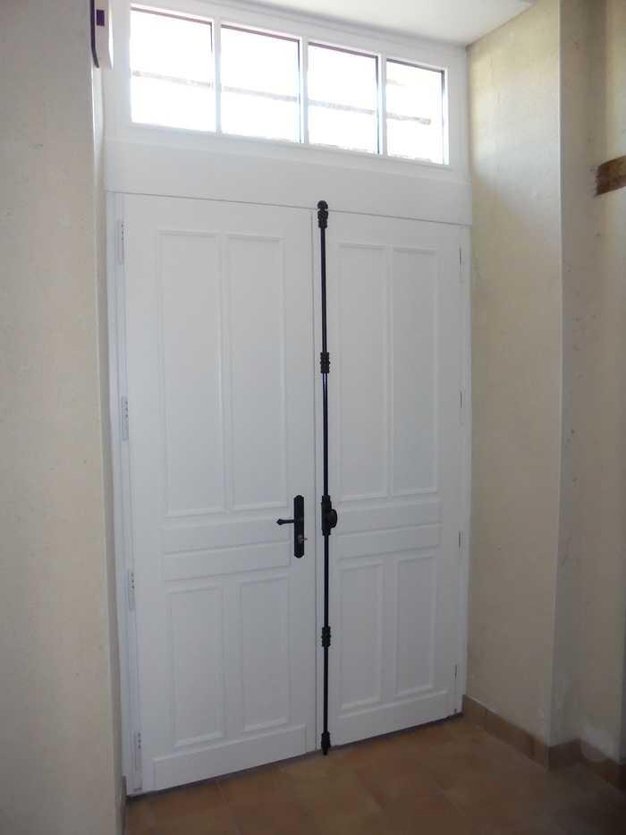 Réplique à l'identique porte d''entrée bois 2 vantaux et impostes 13