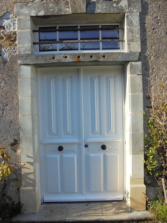 Réplique à l'identique porte d''entrée bois 2 vantaux et impostes 0